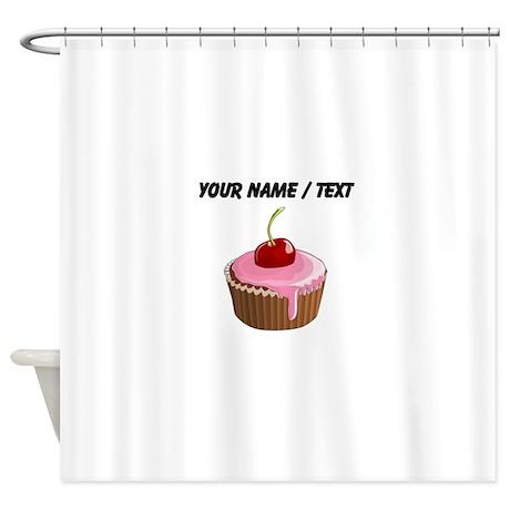 Beau Custom Cherry Cupcake Shower Curtain