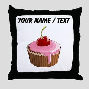 Custom Cherry Cupcake Throw Pillow