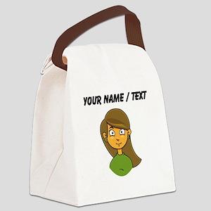 Custom Cartoon Girl Canvas Lunch Bag