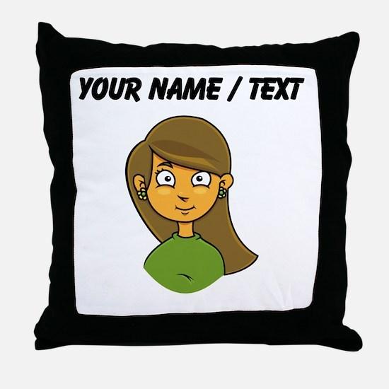 Custom Cartoon Girl Throw Pillow