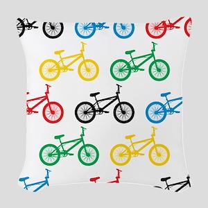 BMX Bikes Woven Throw Pillow