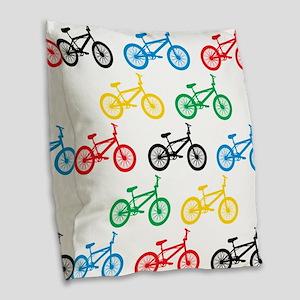 BMX Bikes Burlap Throw Pillow