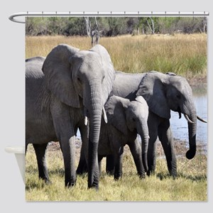 Wild Elephants Shower Curtain