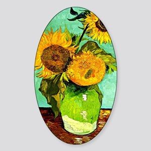 Van Gogh - Sunflowers (three) Sticker (Oval)