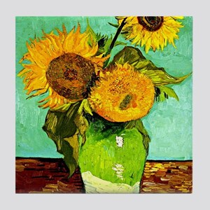 Van Gogh - Sunflowers (three) Tile Coaster