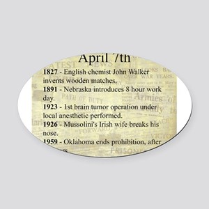 April 7th Oval Car Magnet