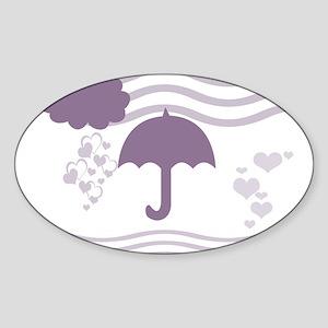 Purple Umbrella Hearts LoveDesign Sticker