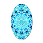 Aqua Lace Abstract 20x12 Oval Wall Decal