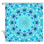 Aqua Lace Abstract Shower Curtain