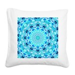 Aqua Lace Abstract Square Canvas Pillow
