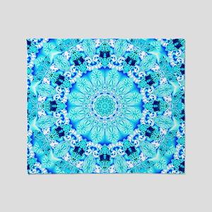 Aqua Lace Abstract Throw Blanket