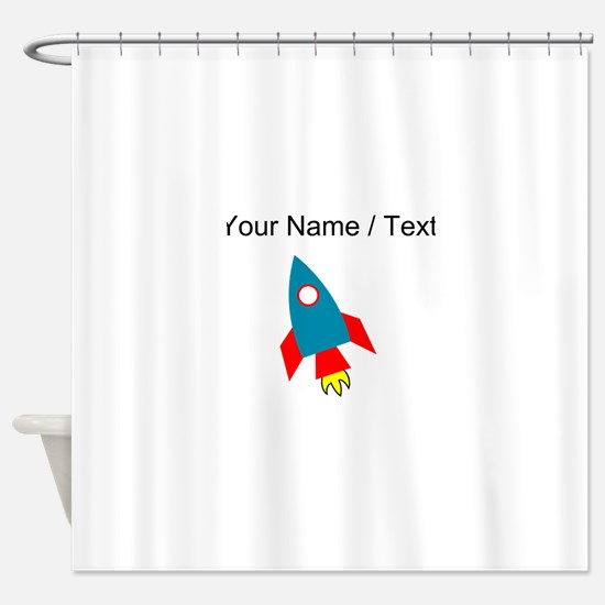 Custom Cartoon Rocket Ship Shower Curtain