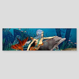 Mermaid and Dolphin Bumper Sticker
