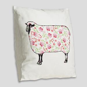 Floral Sheep Burlap Throw Pillow