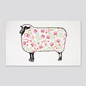 Floral Sheep 3'x5' Area Rug