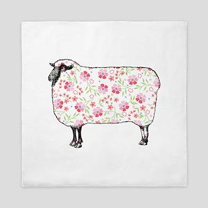Floral Sheep Queen Duvet