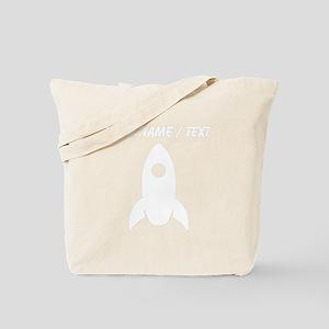 Custom White Rocket Ship Tote Bag