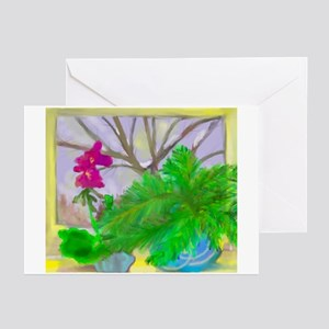 Geranium And Vern In Window Greeting Cards