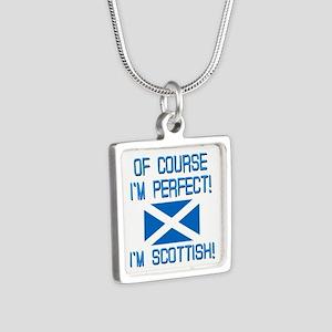 I'm Perfect I'm Scottish Silver Square Necklace