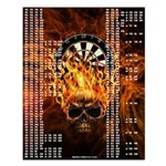 Flaming Skull Darts Out Chart Small Poster