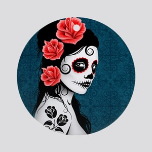 Day of the Dead Girl Blue Ornament (Round)