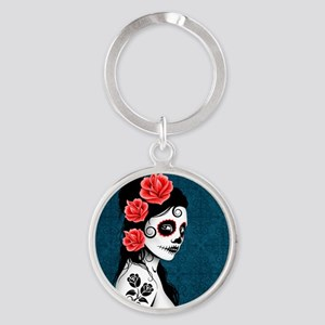 Day of the Dead Girl Blue Keychains