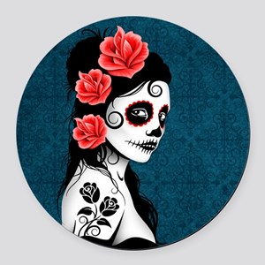 Day of the Dead Girl Blue Round Car Magnet