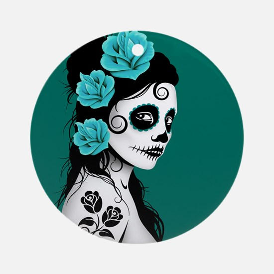 Day of the Dead Girl Teal Blue Ornament (Round)