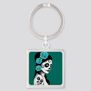 Day of the Dead Girl Teal Blue Keychains