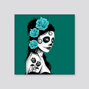 Day of the Dead Girl Teal Blue Sticker