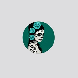 Day of the Dead Girl Teal Blue Mini Button