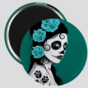 Day of the Dead Girl Teal Blue Magnets
