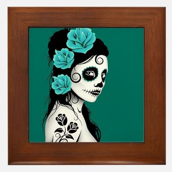 Day of the Dead Girl Teal Blue Framed Tile