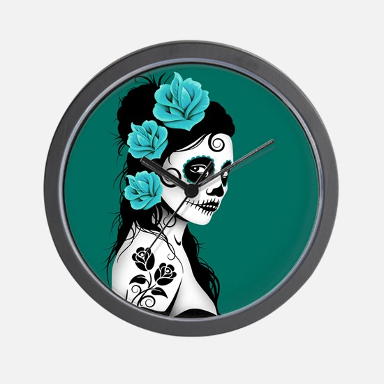 Day of the Dead Girl Teal Blue Wall Clock