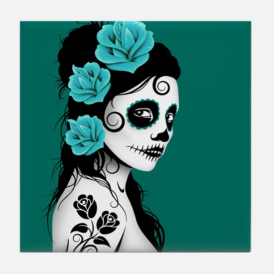 Day of the Dead Girl Teal Blue Tile Coaster