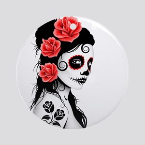 Day of the Dead Girl White Ornament (Round)