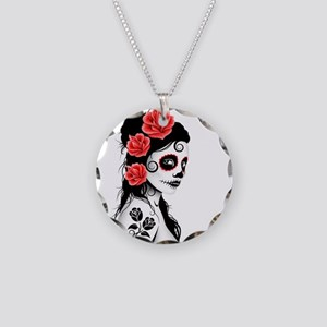 Day of the Dead Girl White Necklace Circle Charm