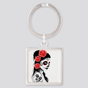 Day of the Dead Girl White Keychains