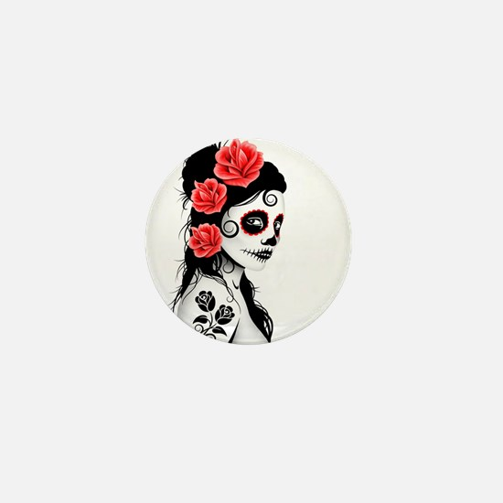 Day of the Dead Girl White Mini Button