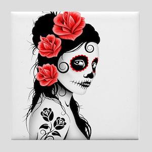 Day of the Dead Girl White Tile Coaster