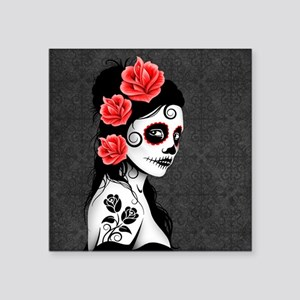 Day of the Dead Girl Gray Sticker