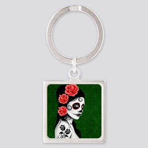 Day of the Dead Girl Green Keychains