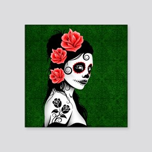 Day of the Dead Girl Green Sticker