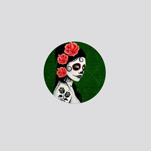 Day of the Dead Girl Green Mini Button