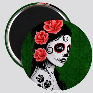 Day of the Dead Girl Green Magnets