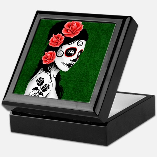 Day of the Dead Girl Green Keepsake Box