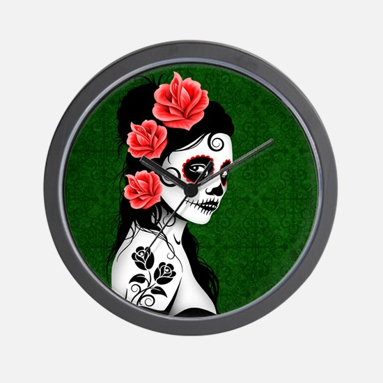 Day of the Dead Girl Green Wall Clock