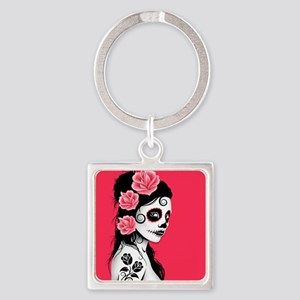 Day of the Dead Girl Pink Keychains