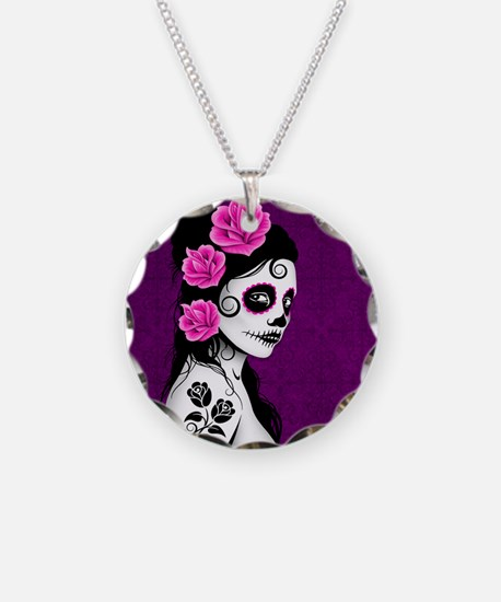 Day of the Dead Girl Purple Necklace Circle Charm