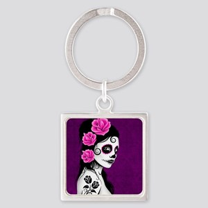 Day of the Dead Girl Purple Keychains